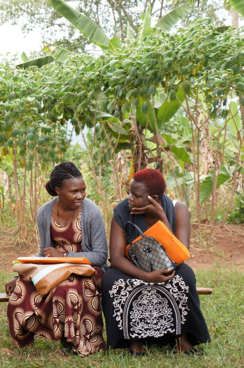 Paula and her research partner Winifred during the GREAT pilot course field visit in Wakiso District near Kampala, Uganda
