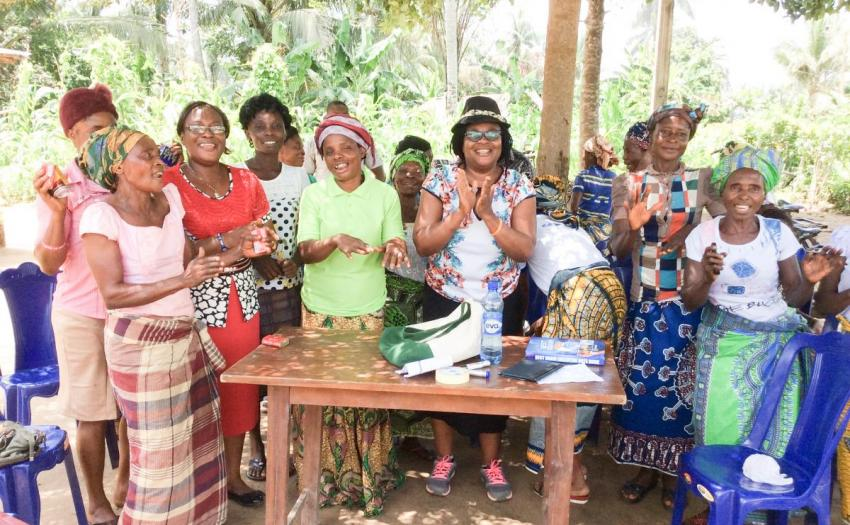 GREAT Fellow Tessy Madu, center, with women cassava farmers in Nigeria